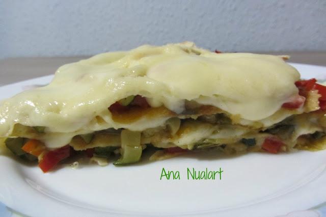 Lasagne aux légumes avec pain au carasau