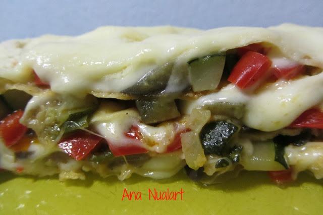 Vegetable lasagna with carasau bread.