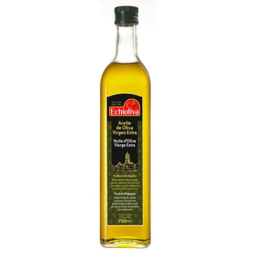 Aceite de Oliva Virgen Extra Echioliva en envase de cristal blanco de 750 ml.