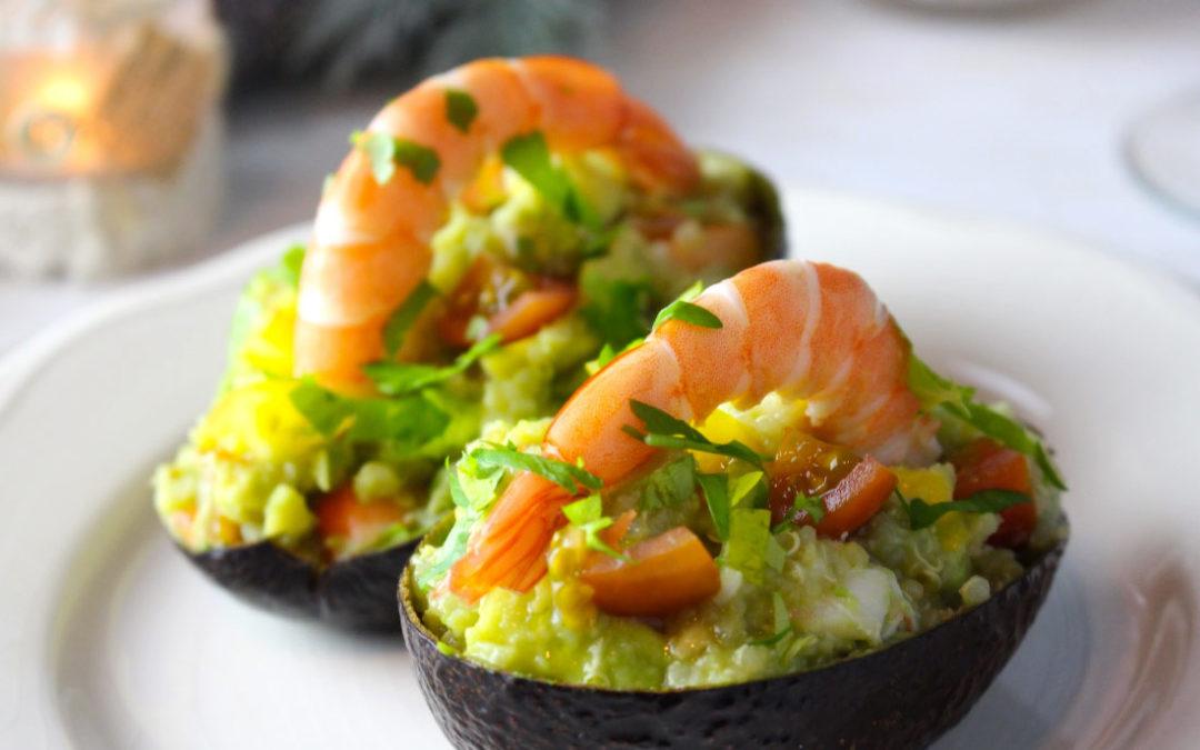 Recipe: Avocados stuffed with prawns and quinoa