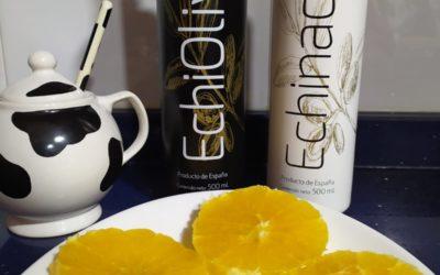 Naranjas con Aceite de Oliva Virgen Extra y azúcar.